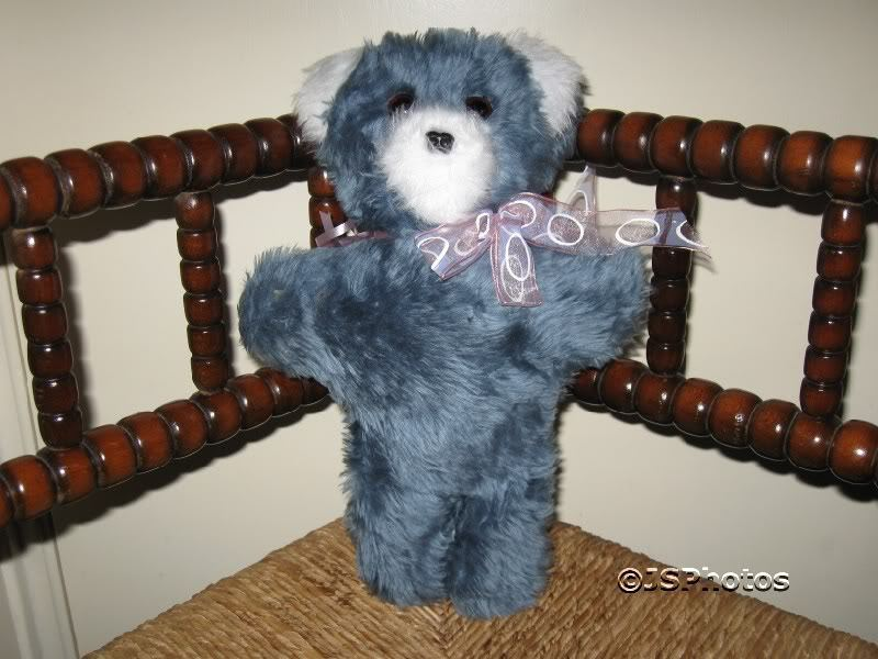 Sunshine Toys UK Blau furry plush Bear 1970s