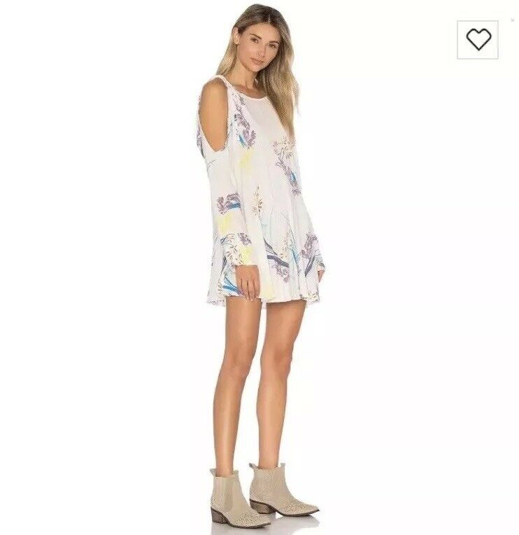 NWT FREE PEOPLE Clear Skies Long Sleeve Tunic Dress Neutral Cold Shoulder Medium