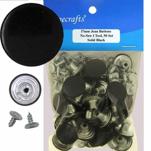 w//Tool 17 mm No-Sew Brass Replacement Jean Tack Buttons 73AEF 50 CT