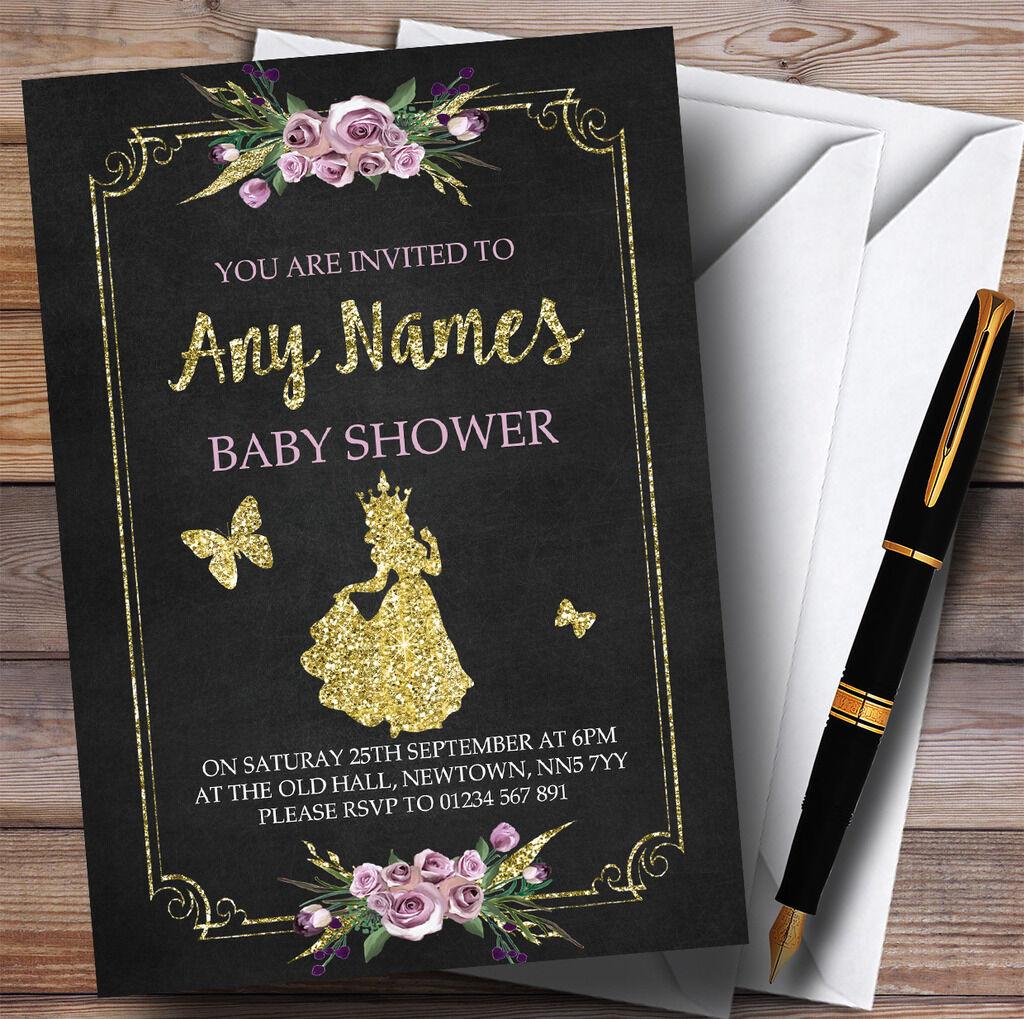 Craie & or Floral princesse Invitations Invitations Baby Shower Invitations Invitations 2e361f