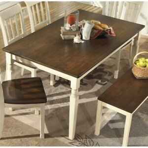 Details about Ashley Whitesburg Rectangular Dining Table in Brown and  Cottage White