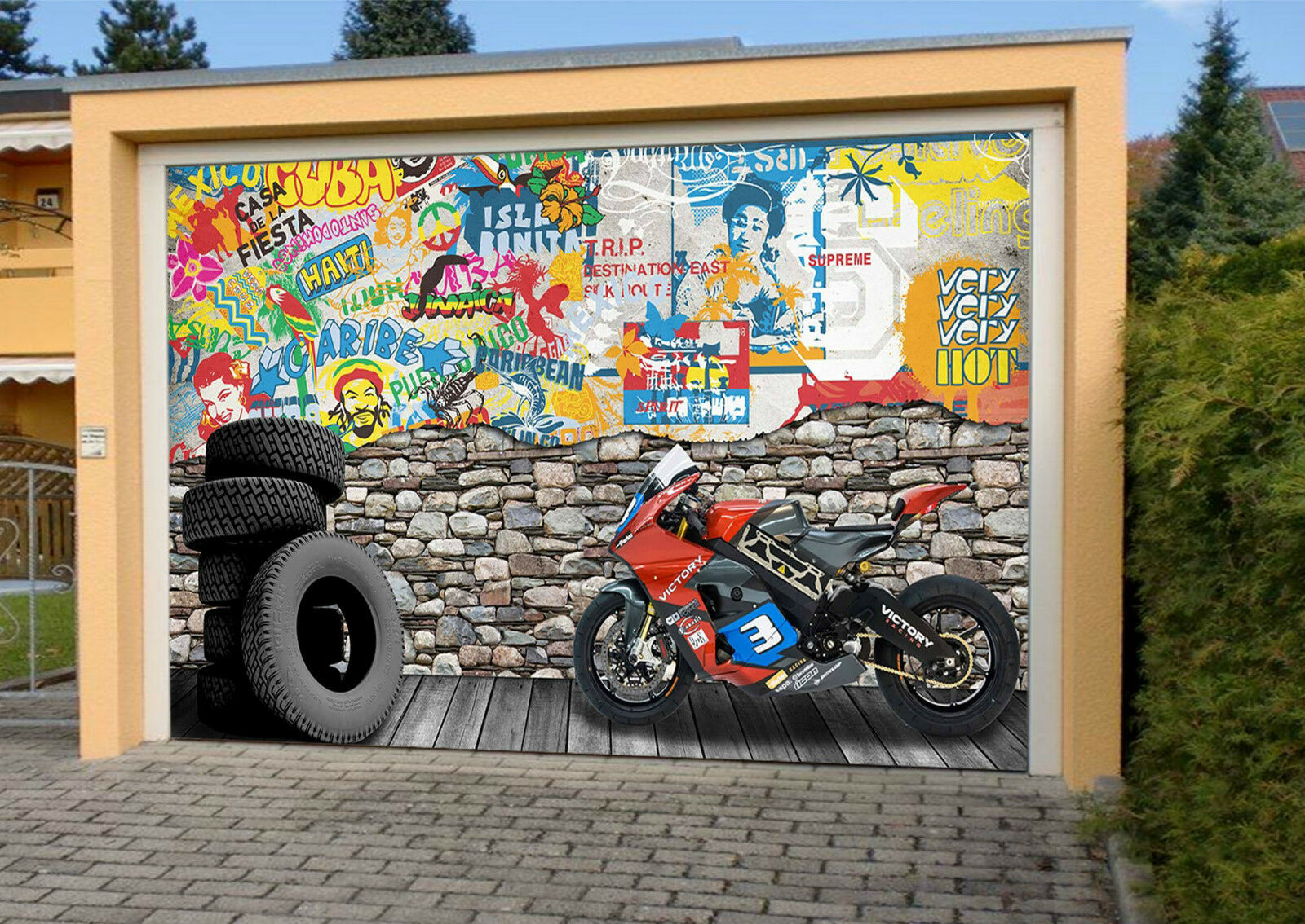 3D Graffiti Tires Garage Door Murals Wall Print Decal Wall Deco AJ WALLPAPER IE
