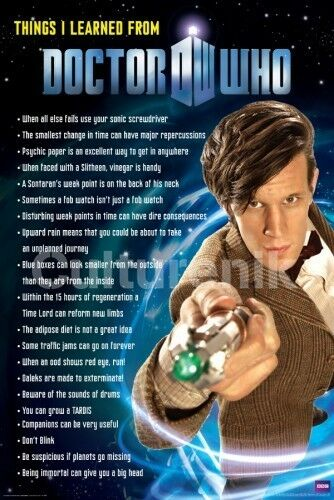 Things I learned From Doctor Who 24 x 36 Poster, Matt Smith NEW ROLLED