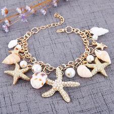 Pearl Cool Trendy Multi Shell Sea Conch Starfish Beach Bracelet Chain Star