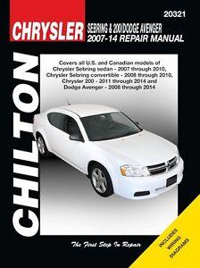 sebring 200 dodge avenger repair manual 2007 2014 by chilton rh ebay com Chrysler Parts Chrysler Engine Parts