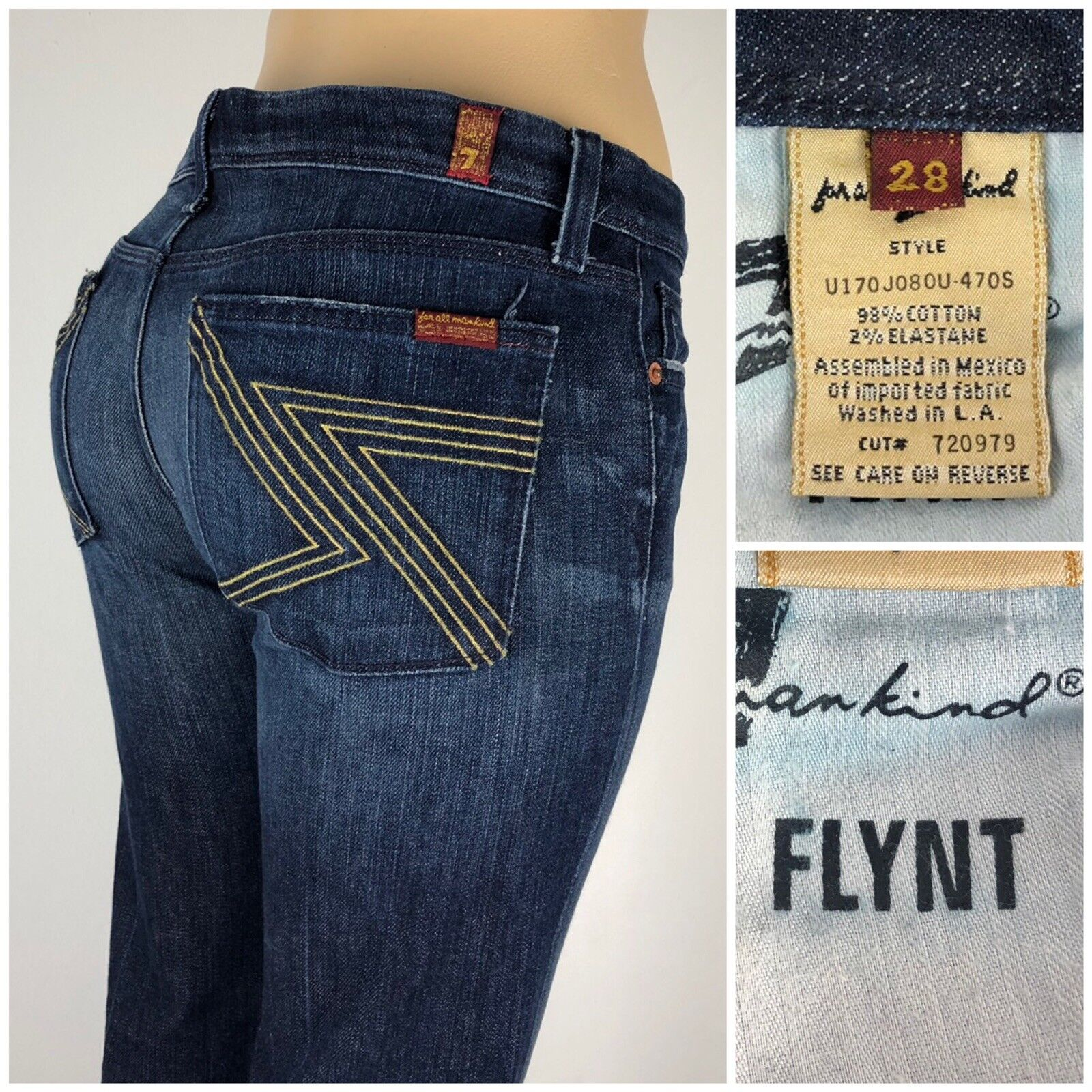 2a6608d43e9 For Mankind Womens 28 X 32 Jeans Flynt Embroidered Cut 720979 Distressed 7  All qcddhj803-Jeans