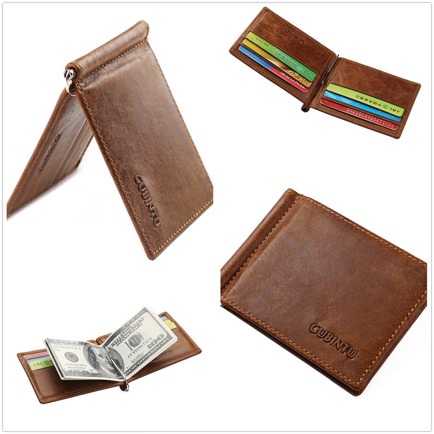 Men/'s Leather Slim Spring Money Clip Wallet Front Pocket Credit Card Case Holder