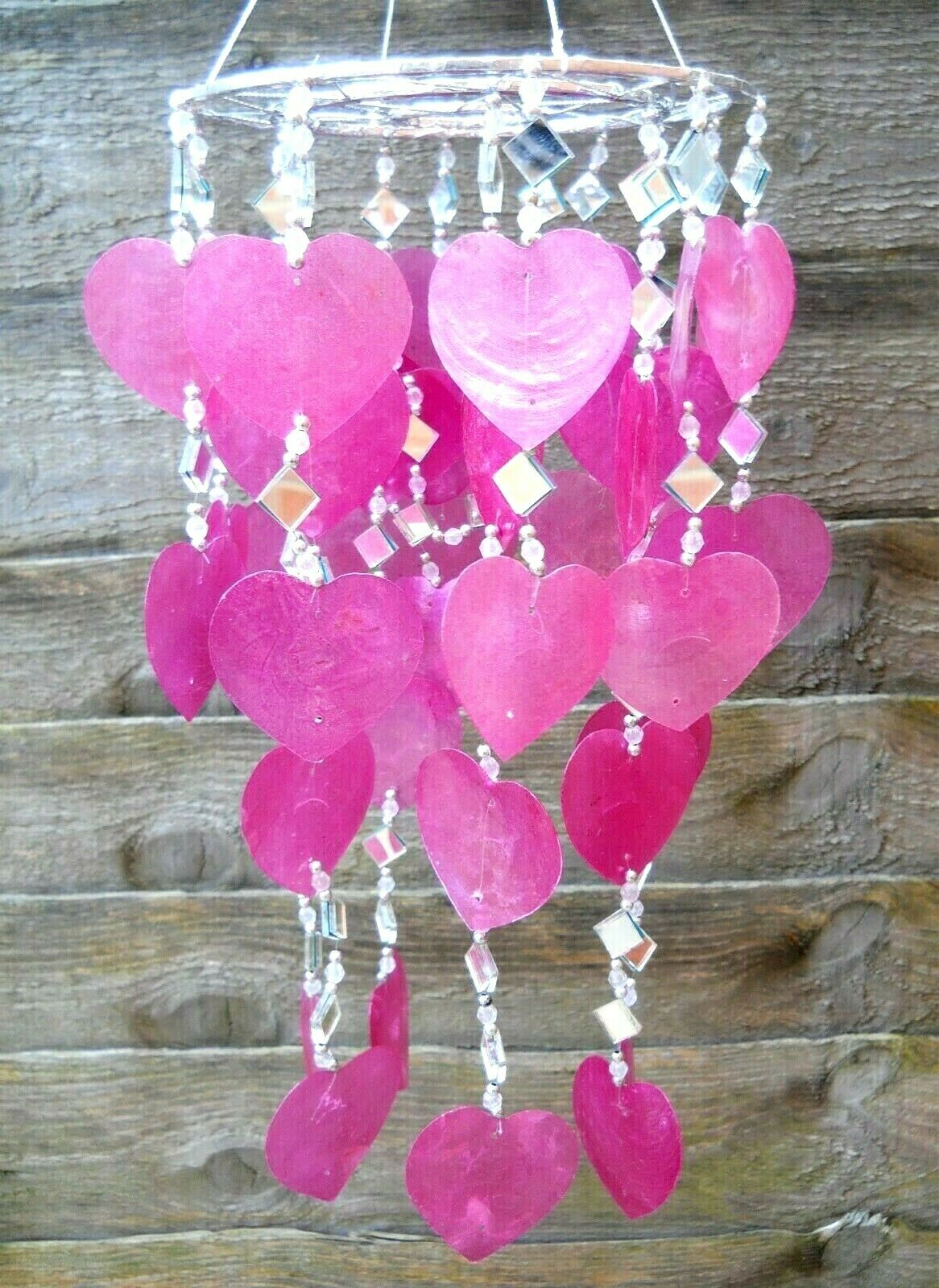 Capiz Shells & Mirrors Shape Jellyfish Windchime Mobile SOFT PINK Colour 65cm