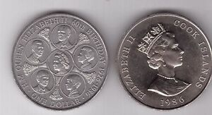 COOK-ISLANDS-1-UNC-COIN-1986-YEAR-KM-31-60th-ANNI-BIRTH-OF-QUEEN-ELIZABETH-II