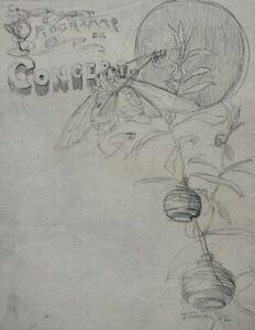 SUPERBE-DESSIN-ANCIEN-FIN-XIX-PROJET-ORIGINAL-CONCERT-DECOR-JAPONISANT-25
