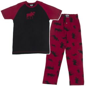 Image is loading Lazy-One-Red-and-Black-Cotton-Moose-Unisex- 5124aee36