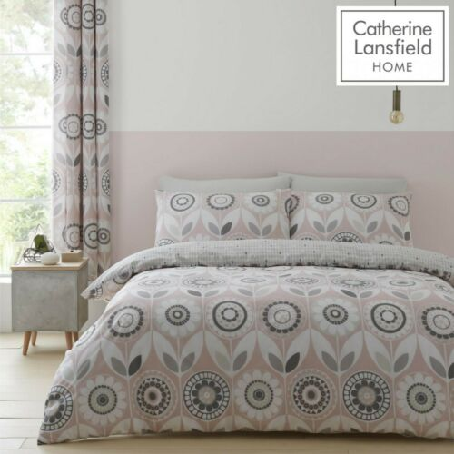 Catherine Lansfield Annika Easy Care Quilt//Duvet Cover Bedroom Collection Blush