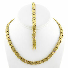 Womens Hugs And Kisses Gold Fn Starburst  Necklace And Bracelet Set 18""