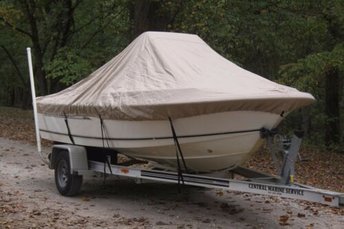"""FOR UP TO 54/"""" TALL CONSOLE NEW VORTEX TAN//BEIGE 15/'6/"""" CENTER CONSOLE BOAT COVER"""
