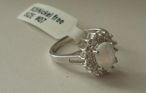 925 STERLING SILVER LADIES OVAL HALO RING W// 1.50 CTS OPAL//DIAMONDS//SIZE 5-9