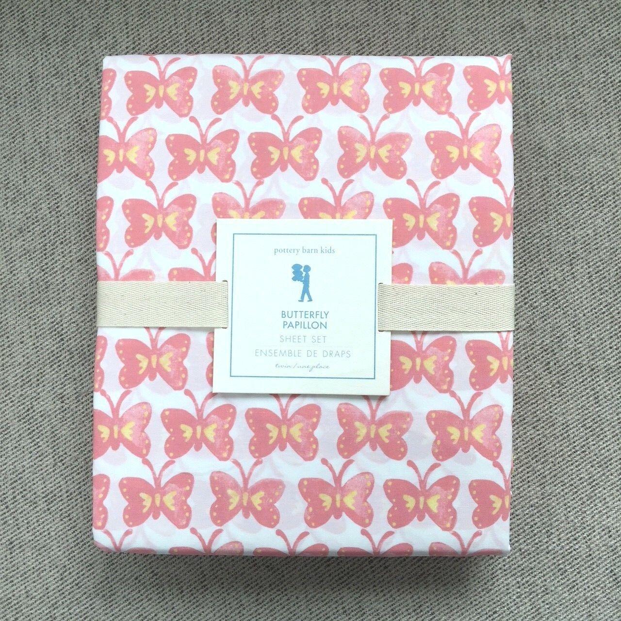 Pottery Barn Kids Butterfly Papillon Twin sheet set white, Coral, Pink,  yellow
