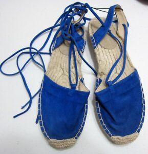 GAP-Espadrilles-Blue-Suede-Shoes-8-LACE-UP-Sandals-JUTE-Beach-Cruise-NEW-EUR-39