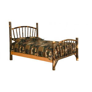 king size hickory sunburst bed amish made in usa ebay. Black Bedroom Furniture Sets. Home Design Ideas