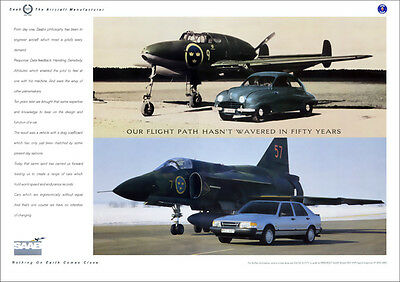 SAAB 9000 & VIGGEN & EARLY SAAB RETRO A3 POSTER PRINT FROM CLASSIC 80'S ADVERT