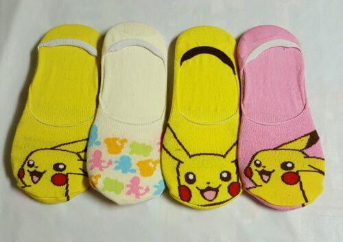 4 Pairs Lot Womens//Girl No Show Foot Cover Poke Pikachu Soft Cotton blend Socks