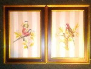 Vintage-Original-Oil-Painting-Parrots-Pair-Parakeets-Birds-Estate-Custom-Art