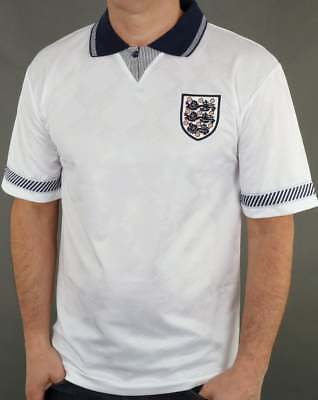 Analitico Score Draw Stile Retrò Inghilterra Italia 90 Football Shirt In Bianco Gazza World Cup 1990- Lucentezza Luminosa