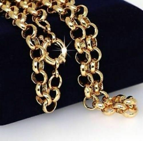"""9ct 9k Yellow /""""Gold Filled/"""" Men Ladies Belcher chain necklace Length 22/"""" Gift"""