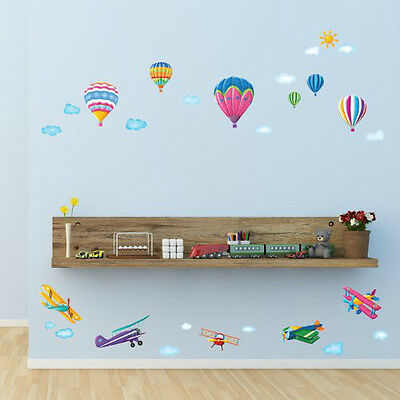 Decowall1301 Hor Air Balloons and Biplanes Wall Stickers Children Tattoos Decal