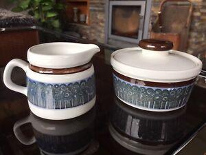 Vintage-Rorstrand-Amanda-Pattern-by-Christina-Cambell-Sugar-Bowl-and-Milk-Jug