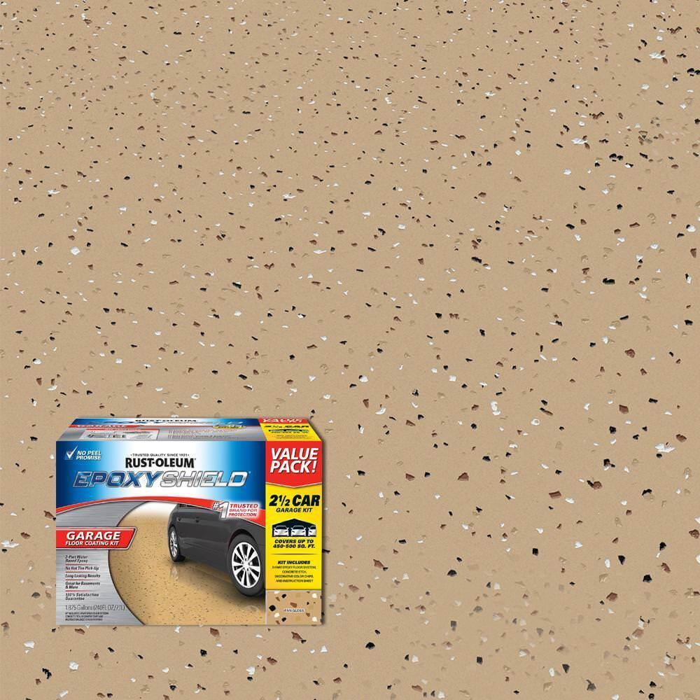 Rust Oleum Epoxy Shield 240 oz. Tan High-Gloss 2.5 Car Garage Floor Coating Kit