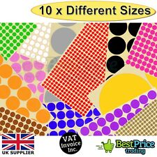 ANY SIZE Coloured Dot Stickers Round Spot Circles Dots Paper Labels *13 COLOURS