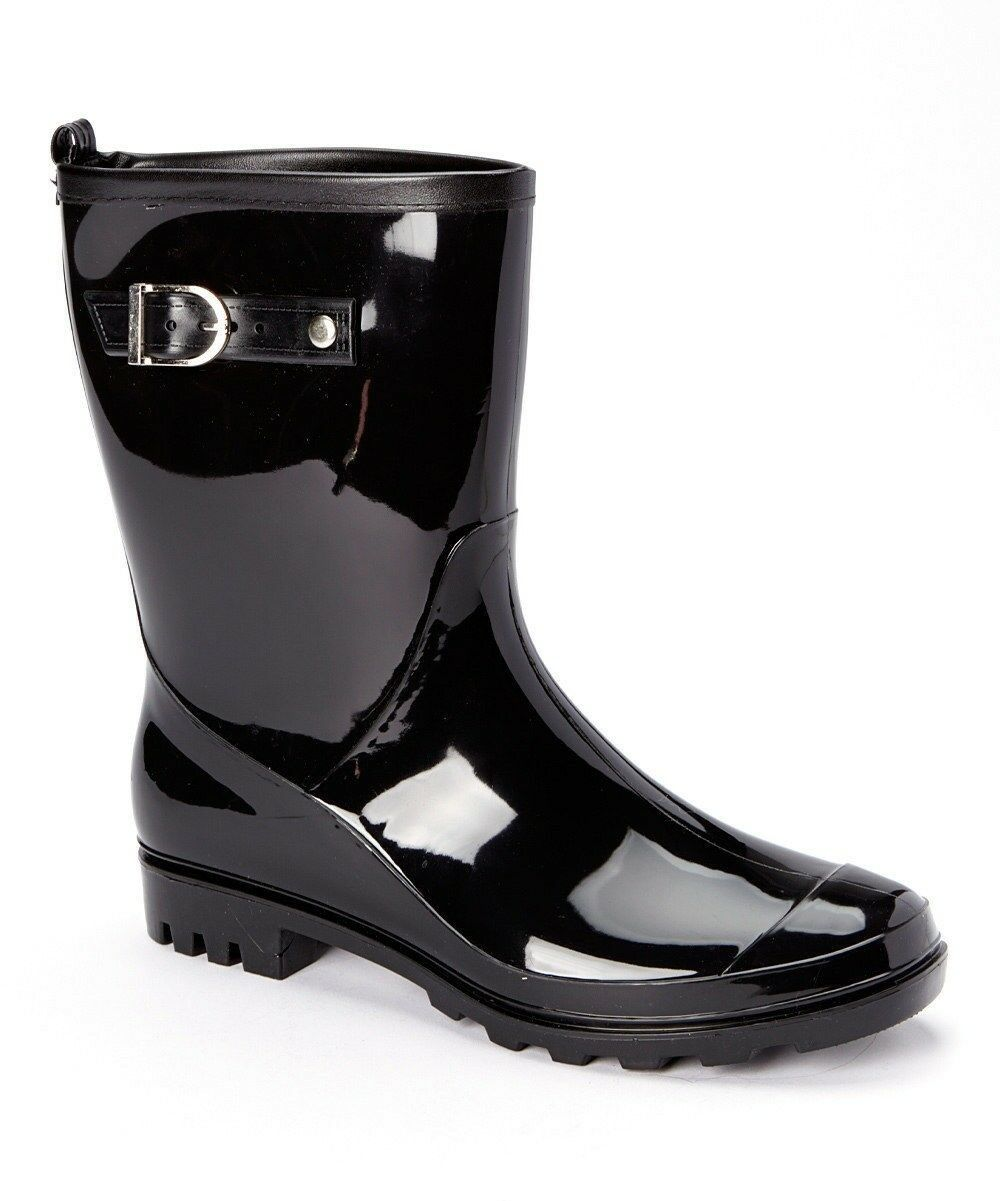 BRAND NEW STYLE Ladies Black Shiny Rain Rain Rain Boots with Buckle - SKADOO- Sizes 5-11 cb762d