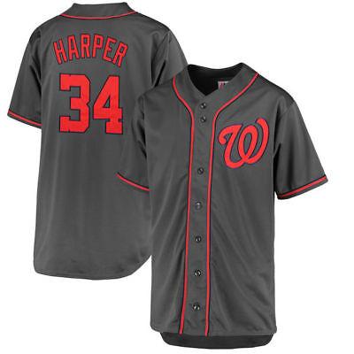 wholesale dealer cf7d6 f895a Washington Nationals MLB #34 Harper Men's Charcoal Big & Tall Jersey | eBay