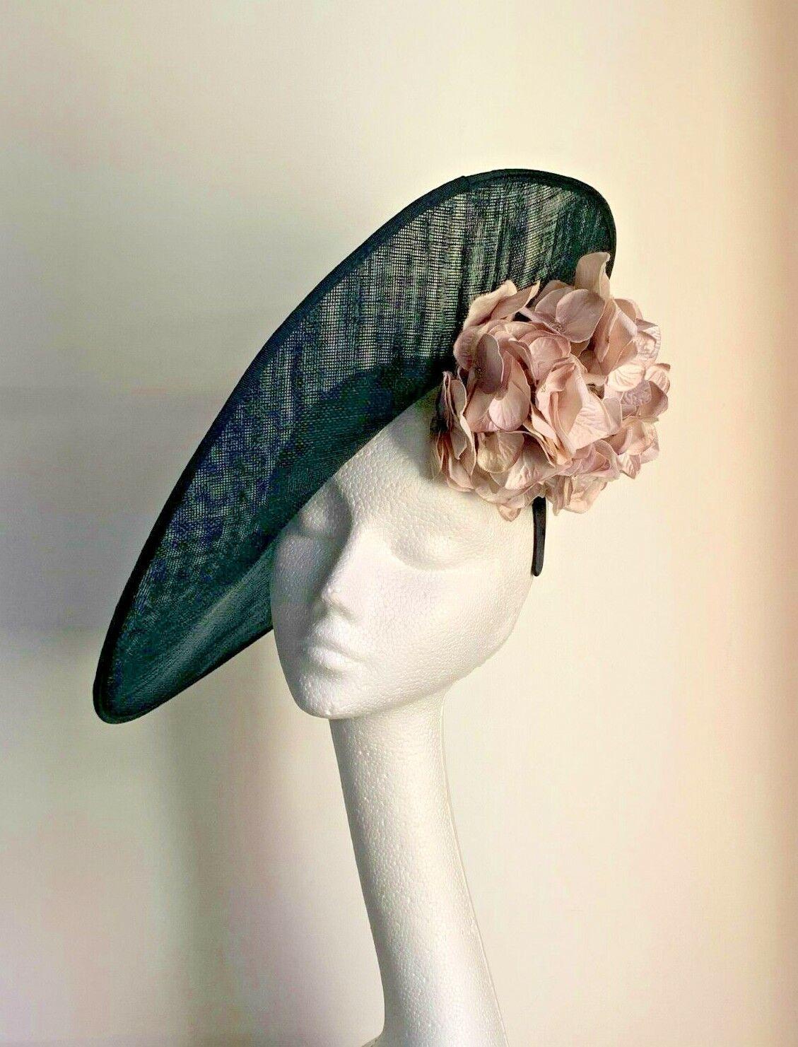 large black saucer disc hat fascinator wedding races mother of bride dusky pink