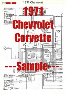 1971 Chevrolet Corvette Full Car Wiring Diagram High Quality Printed Copy Ebay