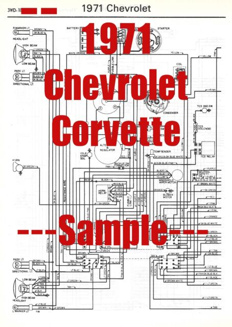 1971 Chevrolet Corvette Full Car Wiring Diagram  High