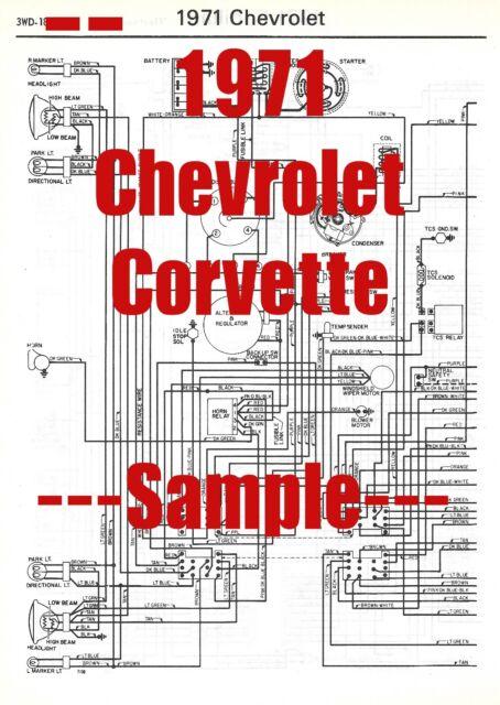 1971 Chevrolet Corvette Full Car Wiring Diagram  High Quality Printed Copy