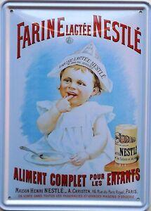 Platte-Metall-Vintage-Farine-Nestle-15-X-21-CM