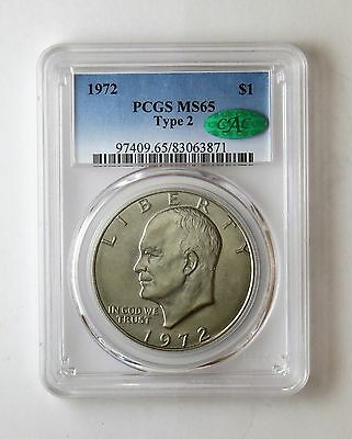 1972 Ike Eisenhower Dollar Type 2 $1 PCGS MS 65 CAC Certified