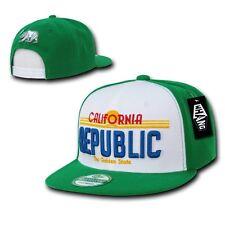 Kelly Green California Republic Vintage Plate Design Snapback Snap Back Hat Cap
