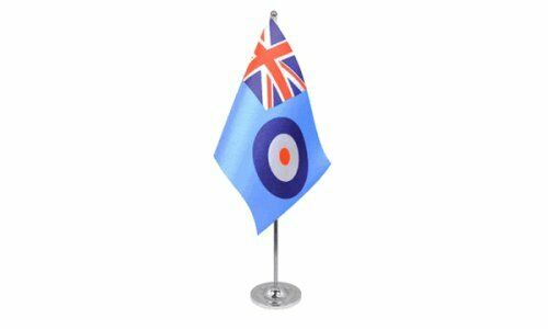 "RAF Royal Air Force Satin Flag (9"" x 6"") with Chrome Base Table Desk Flag Set"