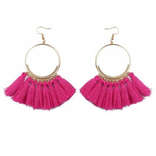 Women Fashion Ring Frange Fil Tassel Boho dangle goutte bohème Boucles d/'oreilles