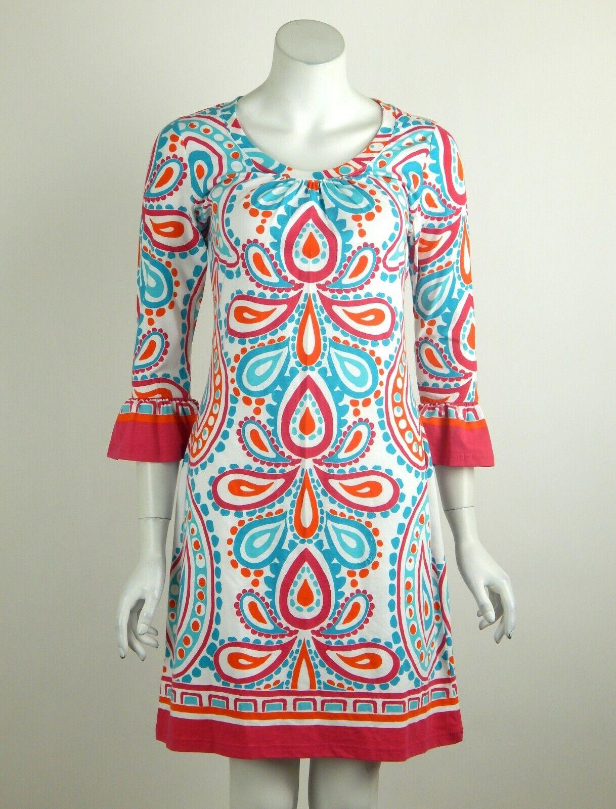 Barbara Gerwit Dress Rosa Weiß Blau Print Round Neck 3 4 Sleeves Small New