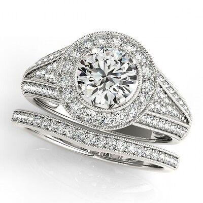 3010. 1.85 CTW Certified VS/SI Diamond 2pc Wedding Set Solitaire Halo 14K ... Lot 3010