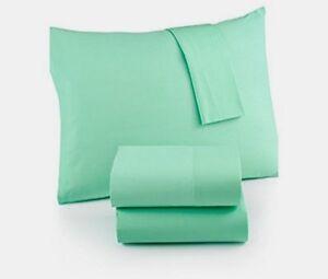 Martha Stewart Whim Pistachio 200tc Mint Solid Cotton Percale Twin