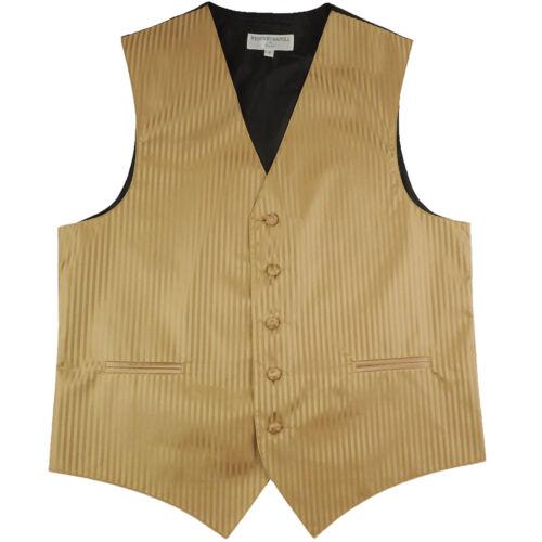 New polyester men/'s tuxedo vest waistcoat only tone on tone stripes formal Gold