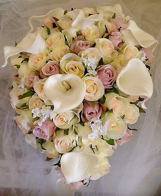 IVORY &ORCHID ROSES & CALLA LILLYS & JIP  TEARDROP 60 BUDS  BOUQUET  SILK FLOWER