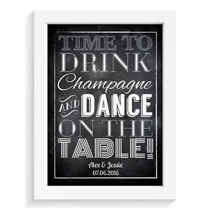 Personalised-wedding-sign-TIME-TO-DRINK-CHAMPAGNE-amp-DANCE-retro-vintage-aisle-si
