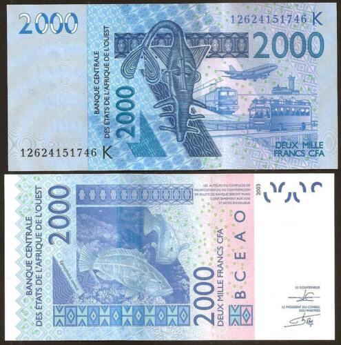 2000 Francs 2012 UNC SENEGAL Pick 716Ki W.A.S.