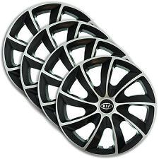 "Hub Caps 14"" KIA Shuma Carens Rio cee'd 4x Wheel Trim Cover SILVER+BLACK QUAD"